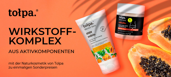 Bis zu 30% Rabatt auf die Aktionsprodukte von Tołpa. Die Preise auf der Website sind inklusive Rabatt