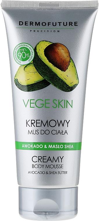 Cremige Körpermousse mit Avocado und Sheabutter - DermoFuture Vege Skin Creamy Body Mousse Avocado & Shea Butter