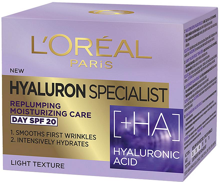 Feuchtigkeitsspendende Anti-Falten Tagescreme mit Hyaluronsäure SPF 20 - L'Oreal Paris Skin Expert