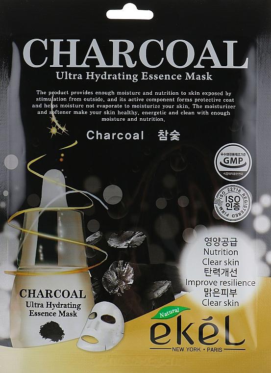 Tuchmaske für das Gesicht mit Aktivkohle - Ekel Charcoal Ultra Hydrating Essence Mask