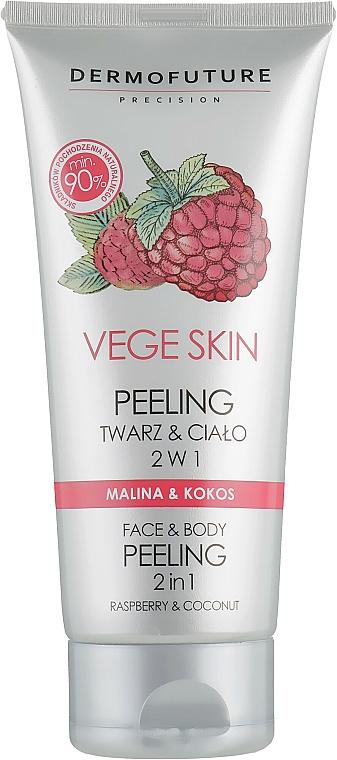 2in1 Gesichts- und Körperpeeling mit Himbeere und Kokosnuss - DermoFuture Vege Skin Face & Body Peeling Raspberry & Coconut