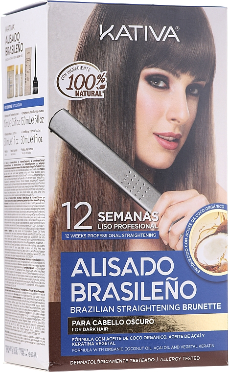 Haarpflegeset - Kativa Alisado Brasileno Straighten Brunette (Shampoo 15ml + Haarmaske 150ml + Shampoo 30ml + Conditioner 30ml + Pinsel 1 St. + Wegwerf Handschuhe)