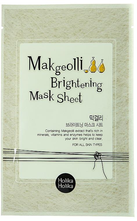 Aufhellende Tuchmaske für das Gesicht mit Reiswein-Extrakt - Holika Holika Makgeolli Brightening Mask Sheet