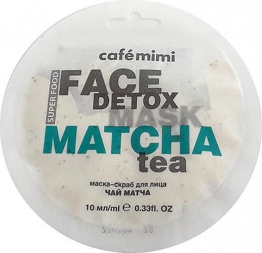 Entgiftende Peelingmaske für das Gesicht mit Matchatee und Aloe Vera - Cafe Mimi Face Mask