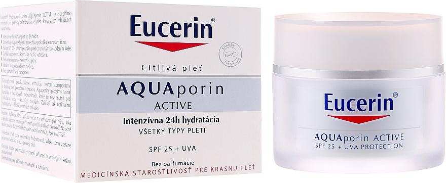 Feuchtigkeitsspendende Gesichtscreme für alle Hauttypen SPF 25 - Eucerin AquaPorin Active Deep Long-lasting Hydration For All Skin Types SPF 25 + UVA