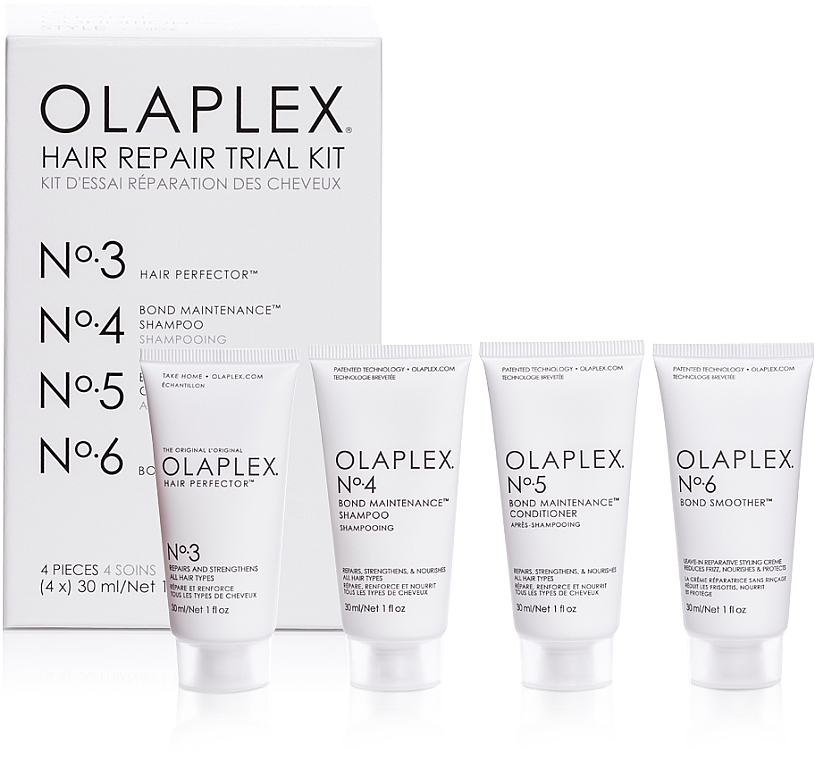 Regenerierendes Haarpflegeset - Olaplex Hair Repair Trial Kit (Shampoo 30ml + Haarspülung 30ml + Haarelixier 30ml + Haarcreme 30ml)