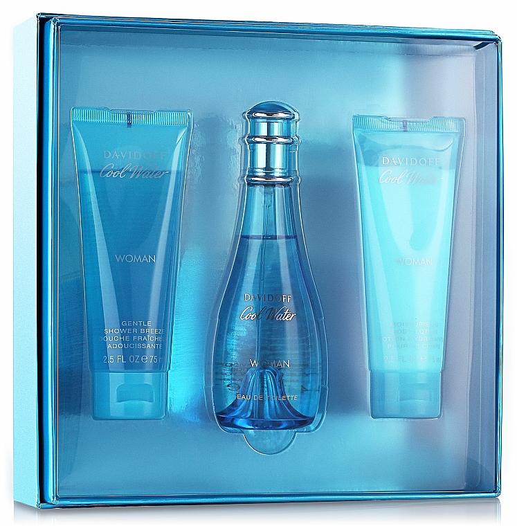 Davidoff Cool Water Woman - Duftset (Eau de Toilette 100ml + Körperlotion 75ml + Duschgel 75ml)