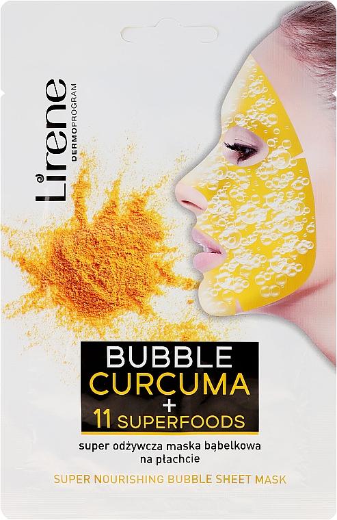 Tiefenreinigende Blasen-Gesichtsmaske mit Kurkuma und 11 Superfoods - Lirene Super Nourishinf Bubble Sheet Mask